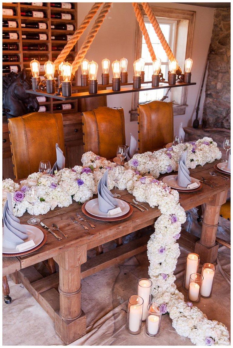 white lavender hydrangea tablescape