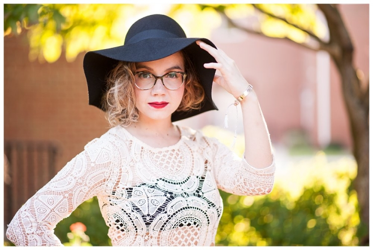 Richmond senior girl portraits with hat and gorgeous backlight