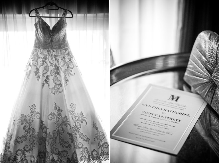 Alexandrian wedding pictures in bridal suite gorgeous gown