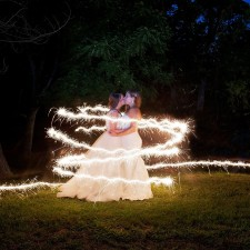 two brides with sparkler trail portrait fauquier springs country club wedding Warrenton Virginia amber kay photography