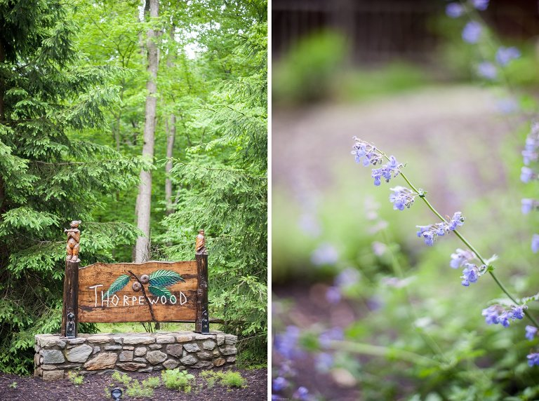 Sign and flowers at Thorpewood Mountain Memories Thurmont, MD wedding