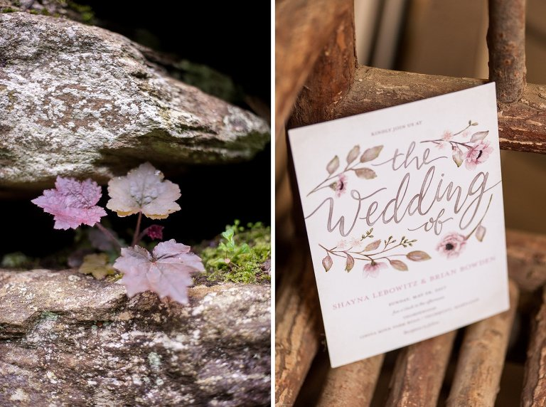 wedding invitation and plants at Thorpewood Mountain Memories wedding Thurmont, MD