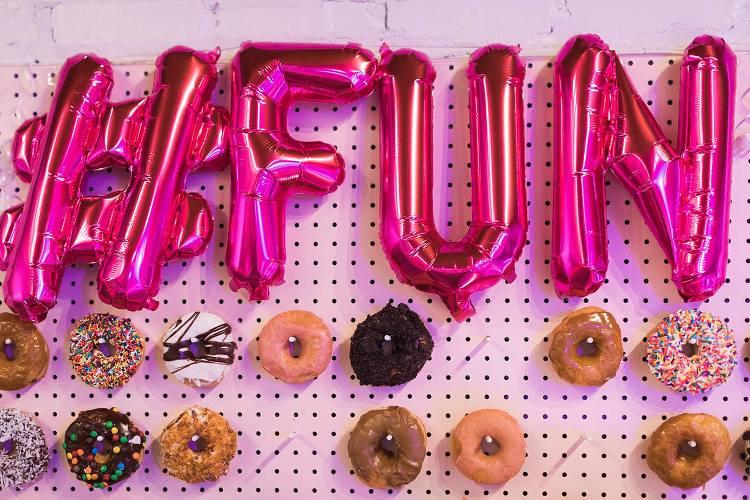 pink diy donut wall at wear rva fashion show