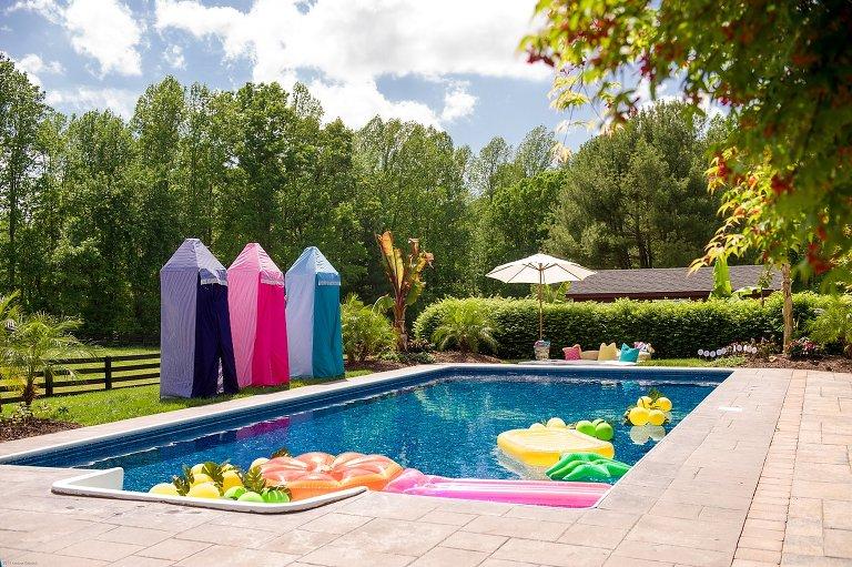 vintage cabana inspired birthday party pool richmond va