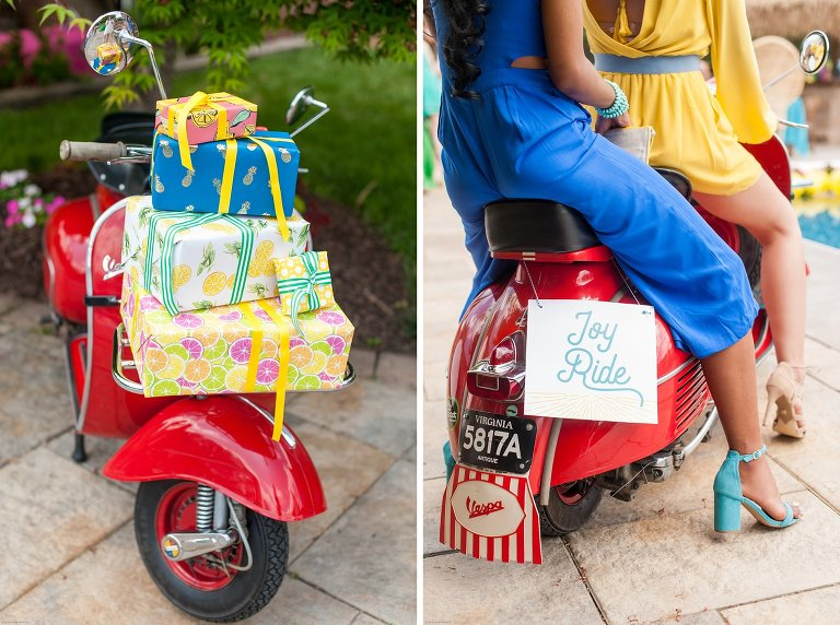 vintage cabana inspired birthday party red vespa with presents