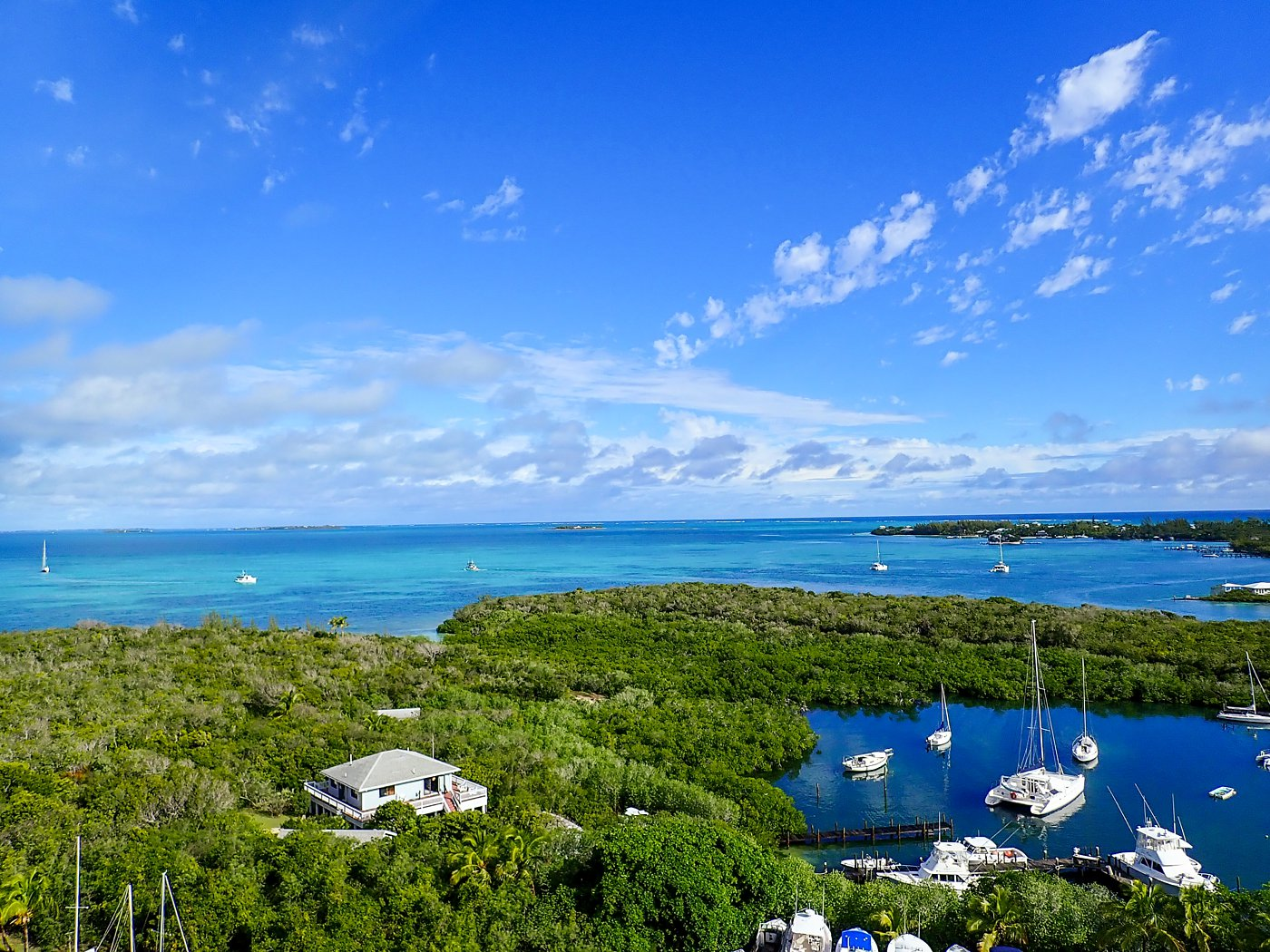 tradewinds catamaran vacation abacos bahamas hopetown lighthouse view