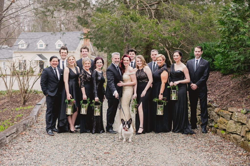 wedding party with dog