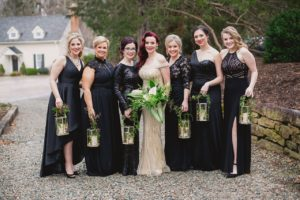 wedding party with black mismatched dresses